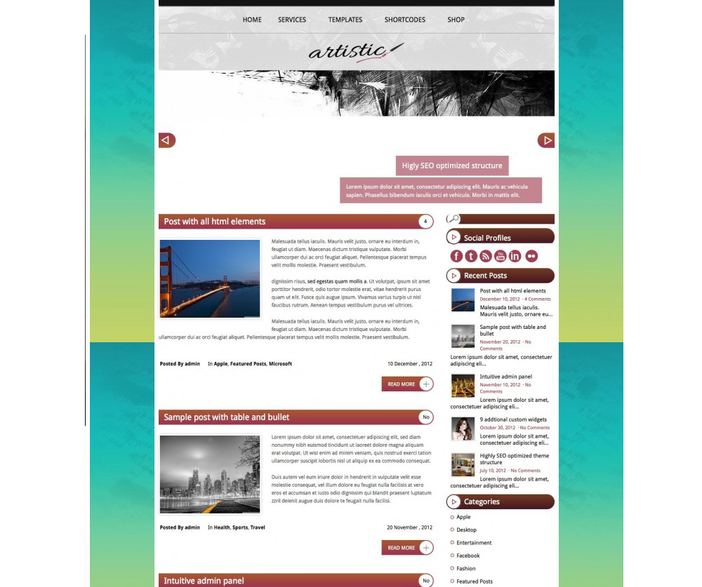 Artistic WordPress Theme Download