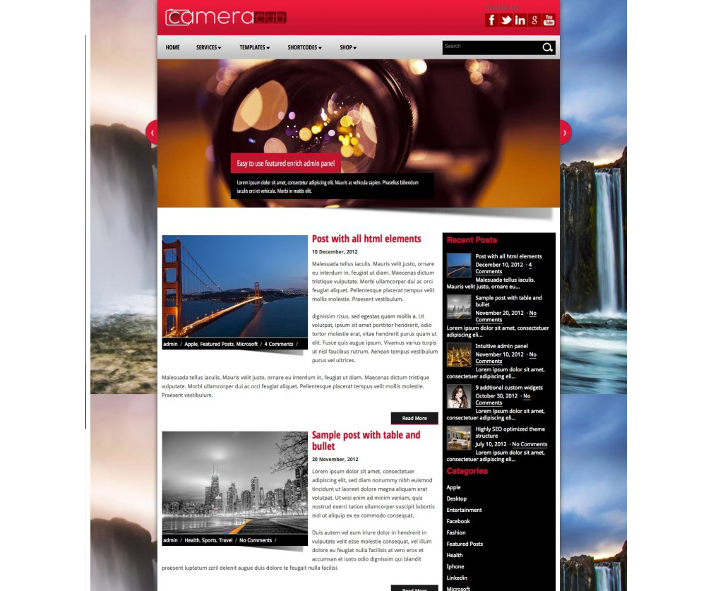 CameraClub Wordress theme