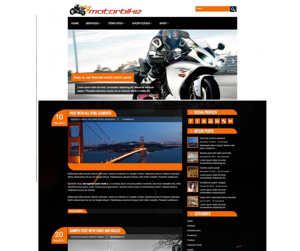 MotorBike WordPress Theme