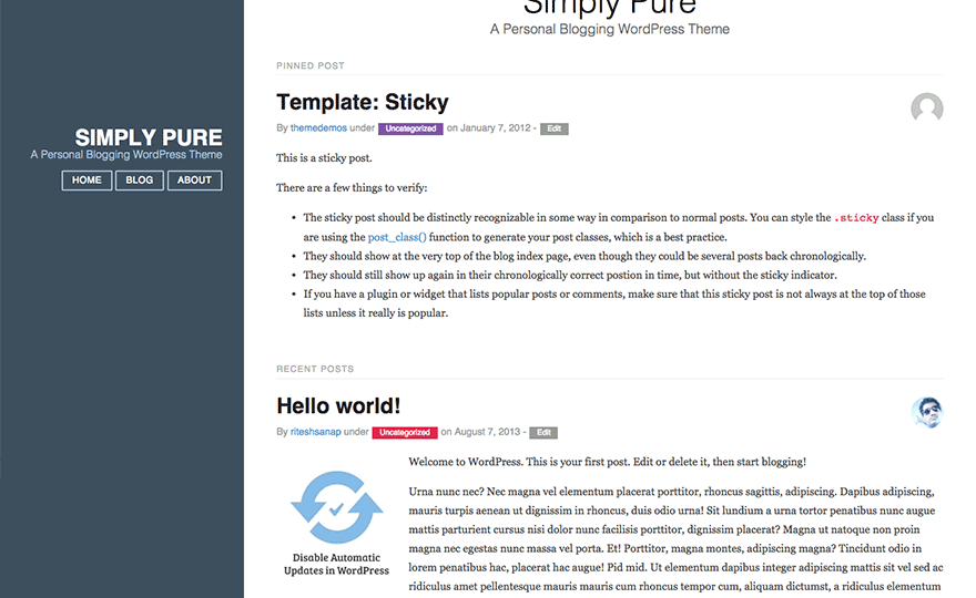 Simply Pure WordPress Theme
