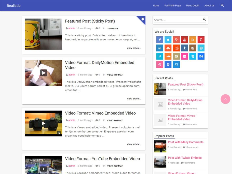 Realistic WordPress Theme