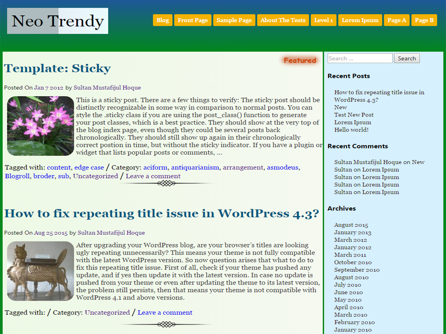 Neo Trendy Wodrpress Theme Download