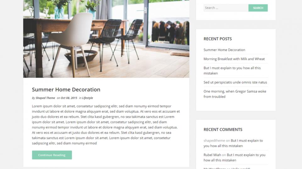 Shaped Blog WordPress Theme