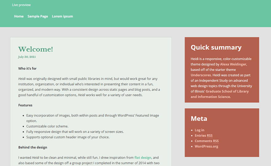 Heidi WordPress Theme