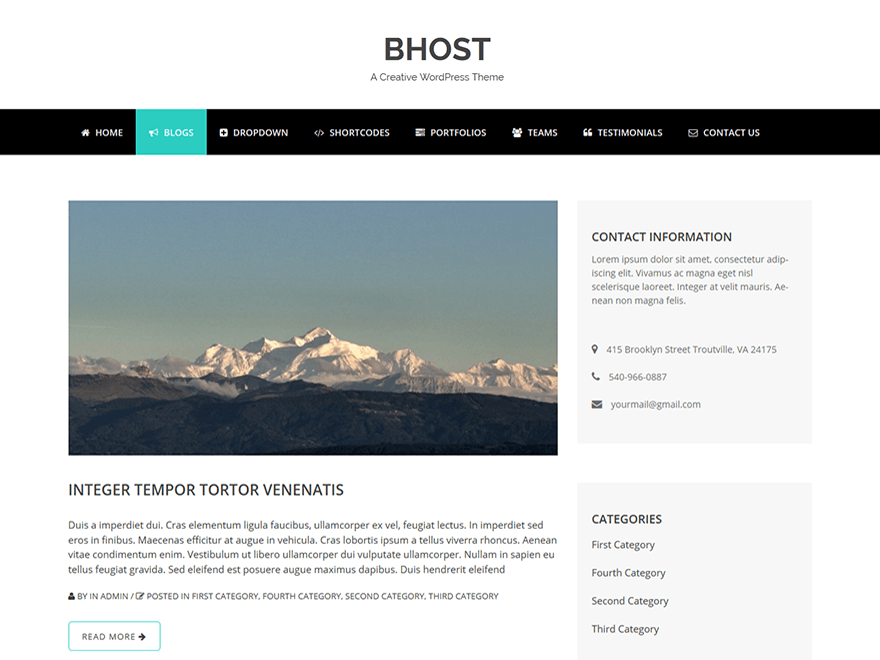 bhost wordpress Theme