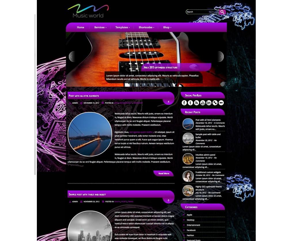 MusicWorld WordPress Theme Download