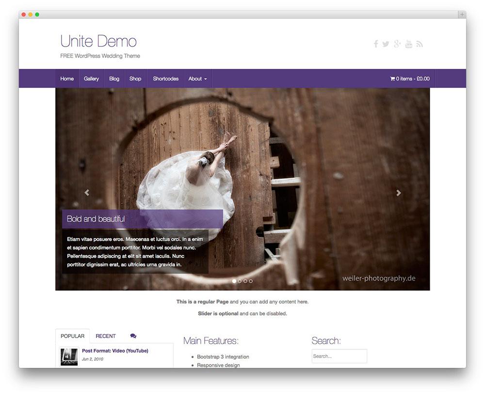 Unite – Free WordPress Wedding Theme