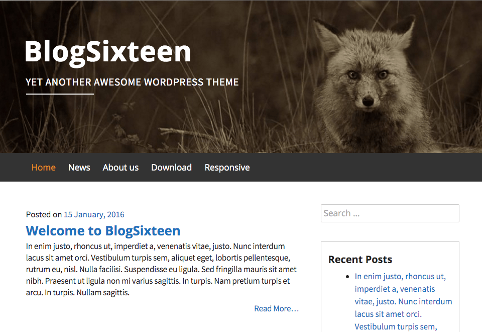 BlogSixteen WordPress Theme