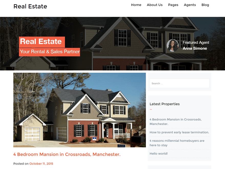 Real Estate Lite WordPress Theme