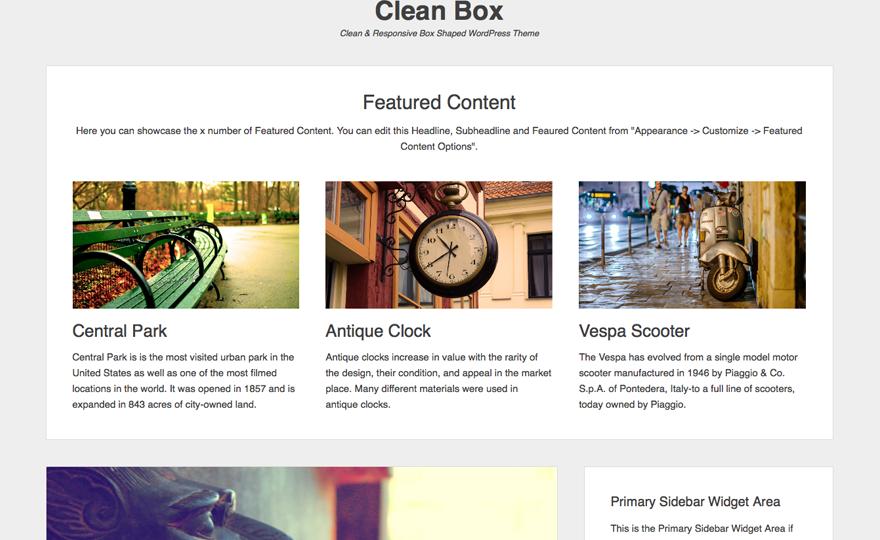 Clean Box WordPress Theme Download