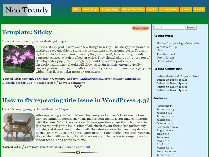 Neo Trendy Wodrpress Theme Download