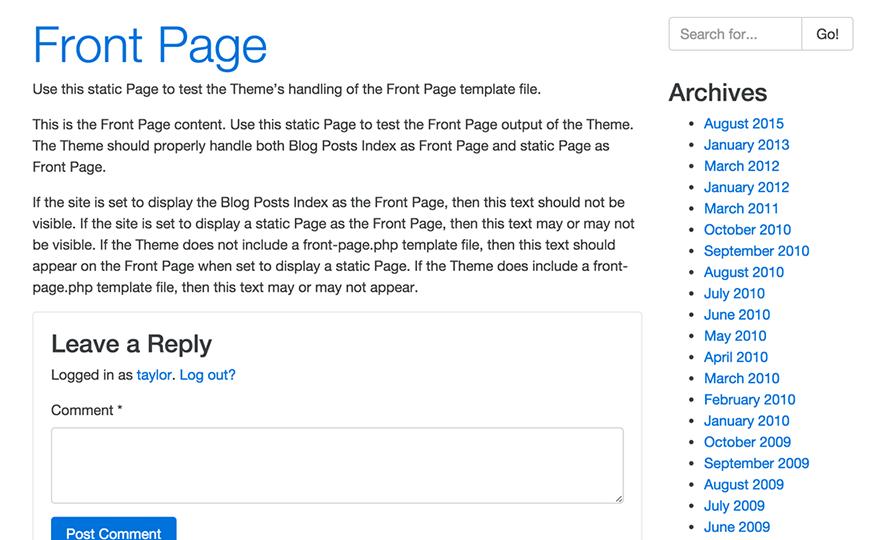 Bootstrap Four WordPress Theme