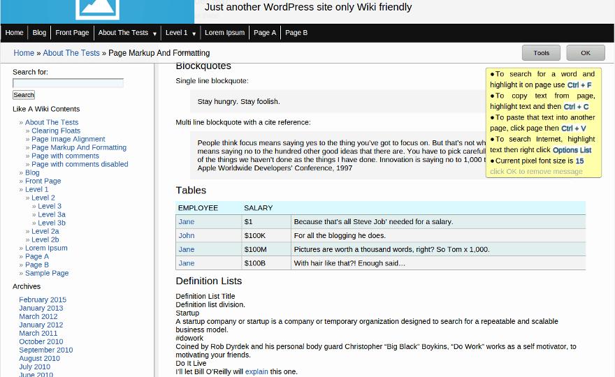 LikeAWiki WordPress Theme